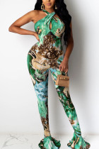 Green Sexy Print Coloured drawing Polyester Sleeveless Hanging neck Jumpsuits