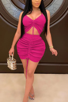 rose red Sexy Polyester Solid Frenulum Fold Spaghetti Strap Sleeveless Spaghetti Strap Short Two Pieces