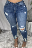 Dark Blue Fashion Casual Solid Ripped Plus Size Jeans