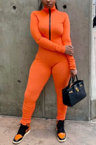 Orange Casual Polyester Spandex Pit Article Fabrics Solid Fold Pants Zipper Collar Skinny Jumpsuits