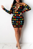 Black Sexy Off The Shoulder Long Sleeves Tie The collar Hip skirt Knee-Length Print bandage backless Dresses