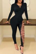 Black Sexy Street Polyester Twilled Satin Solid Bandage Pants Strap Design V Neck Skinny Jumpsuits