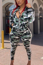 Green Polyester Fashion Active adult Ma'am Camouflage Two Piece Suits pencil Long Sleeve Two Pieces