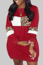 Red Casual Print Leopard Split Joint O Neck Straight Plus Size