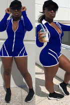 Blue Fashion Sexy Solid zipper Patchwork Ribbon Polyester Long Sleeve O Neck Rompers