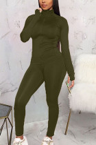 Army Green Polyester Fashion Sexy Active Casual Europe and America Solid Straight Long Sleeve Two Pieces