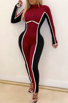Red Sexy Solid Split Joint Zipper Collar Skinny Jumpsuits