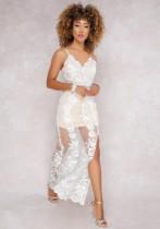 White Sexy & Club V-Neck Sleeveless Sheath Long Club Dresses