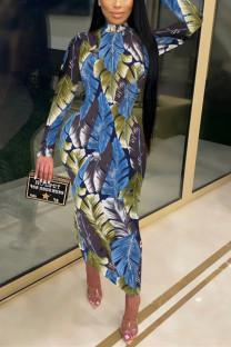 Blue Fashion Casual Print Basic Half A Turtleneck Printed Dress