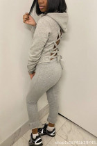 Grey Fashion Sexy Casual Polyester Cotton Blends Solid Bandage Backless Pullovers Pants Strap Design Hooded Collar Long Sleeve Regular Sleeve Regular Two Pieces
