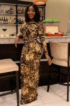 Yellow Sexy adult Fashion Cap Sleeve Long Sleeves O neck Pencil Dress Floor-Length Print Patchwor