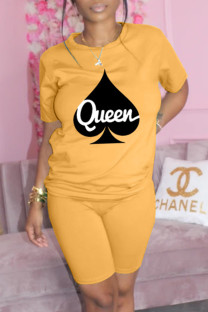 Yellow Fashion Casual Print Basic O Neck Short Sleeve Two Pieces