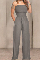 Grey Fashion Casual Solid Draped Cotton Sleeveless Wrapped Jumpsuits