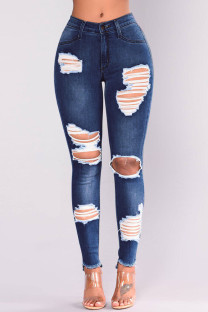 Dark Blue Fashion Casual Solid Ripped Mid Waist Skinny Jeans