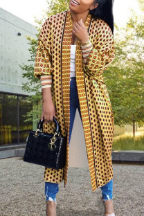 Coffee Daily Polyester Twilled Satin Print Cardigan O Neck Outerwear