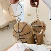 Gold Fashion Patchwork Chain Strap Rhinestone Crossbody Bag