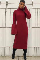 Wine Red Polyester Sexy Bell sleeve Long Sleeves Turtleneck Step Skirt Mid-Calf asymmetrical Solid Patchwork