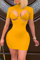 Yellow Sexy Solid Hollowed Out Half A Turtleneck Short Sleeve Two Pieces