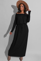 Black Milk. Celebrities Off The Shoulder Long Sleeves One word collar Step Skirt Ankle-Length Solid