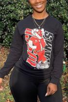 Black Fashion Print O Neck Tops