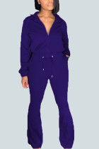 Blue Sexy Solid Turndown Collar Long Sleeve Two Pieces