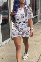 White Polyester Casual Newspaper pencil Short Sleeve
