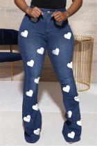Blue Fashion Casual Regular Print High Waist Jeans