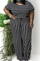 Black Polyester Sexy Striped Print Stripe Plus Size
