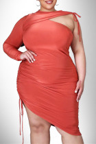 Tangerine Red Fashion Sexy Plus Size Solid Hollowed Out O Neck Irregular Dress