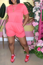 Pink Sexy Solid Polyester Short Sleeve O Neck Jumpsuits