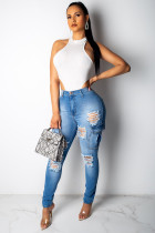 Blue Denim Button Fly Sleeveless High Hole Patchwork Pocket washing Solid pencil Pants