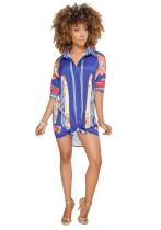 As Show-4 Fashion V-Neck Short Print Long Blouses & Shirts