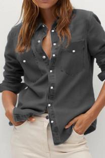 Black Street Solid Turndown Collar Outerwear
