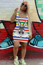 Red Fashion Casual adult Red Blue Tank Sleeveless Square Step Skirt Mini Striped Print Patchwork Dresses