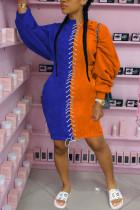 Orange Fashion Sexy Polyester Patchwork Solid Bandage Split Joint Basic O Neck Long Sleeve Knee Length Pencil Skirt Dresses