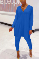 Blue Polyester Fashion Casual adult Ma'am Solid Two Piece Suits pencil Long Sleeve Two Pieces