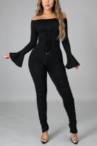 Black Sexy Solid Bandage Slit Fold Bateau Neck Regular Jumpsuits