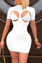 White Sexy Solid Hollowed Out Half A Turtleneck Short Sleeve Two Pieces