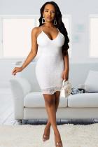 White Polyester Fashion adult Street Spaghetti Strap Sleeveless Slip Step Skirt Knee-Length lace backless