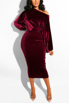 Wine Red Fashion Casual Solid Basic Oblique Collar Long Sleeve Dress