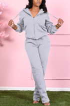 Grey Fashion Casual Adult Polyester Solid Draw String Hooded Collar Long Sleeve Regular Sleeve Regular Two Pieces