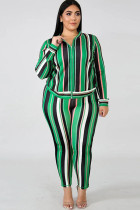 Stripe Polyester Sexy O Neck Two Piece Suits Floral Zippered Print Pattern