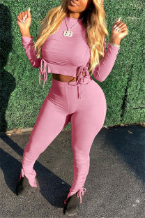 Pink Fashion Casual Solid Strap Design O Neck Long Sleeve Two Pieces