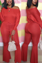 Red Fashion Casual Solid Basic Bateau Neck Regular Jumpsuits