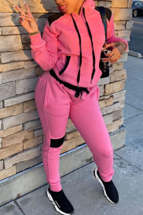 Pink Casual Patchwork Hooded Collar Long Sleeve Two Pieces