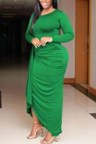 Green Fashion Sexy Adult Milk Fiber Solid Fold O Neck Long Sleeve Floor Length Long Sleeve Dress Dresses