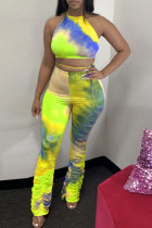 Yellow Polyester Fashion Casual Print backless Tie Dye Two Piece Suits Loose Sleeveless Two Pieces