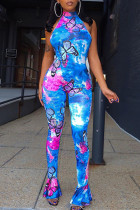 Blue Fashion Sexy Butterfly Print Backless Half A Turtleneck Jumpsuits