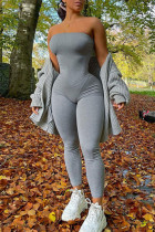 Grey Casual Solid Solid Color Strapless Skinny Jumpsuits