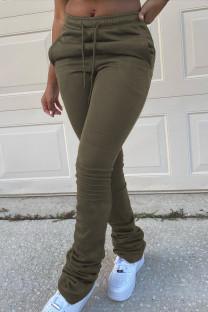Army Green Fashion Casual Print Basic Regular Trousers